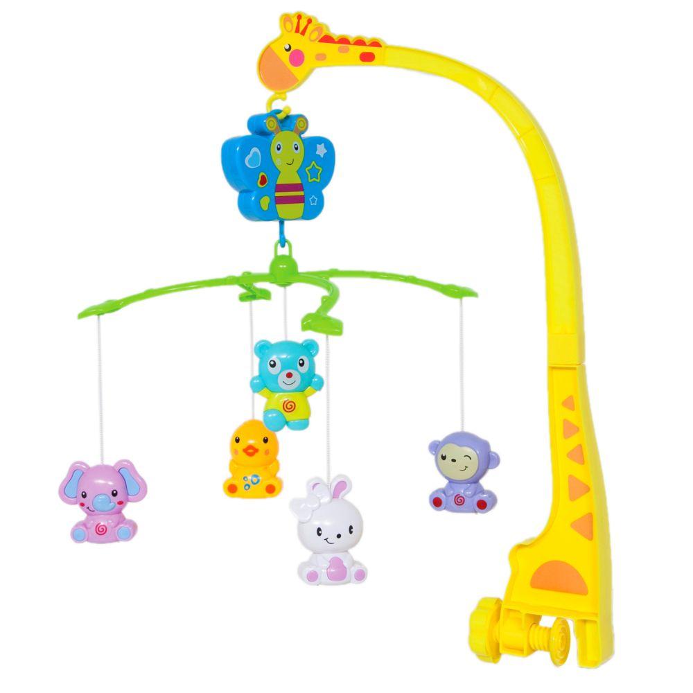 Brinquedo para berço Mobile Girafinha com animais com Movimentos e Canção de Ninar