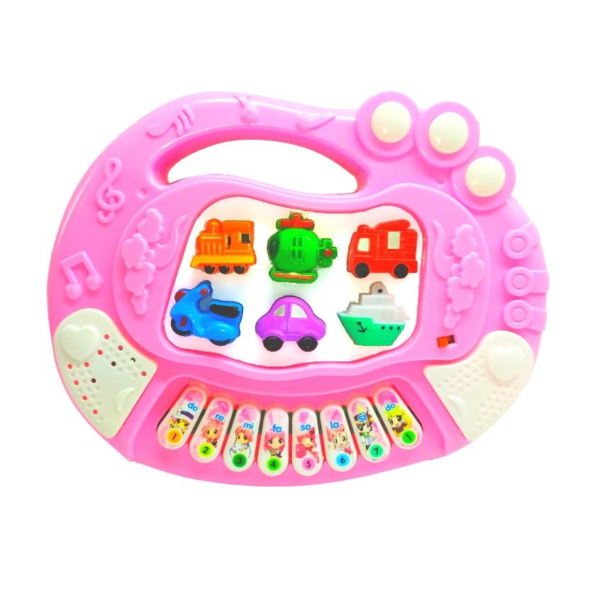 Brinquedo Pianinho Musical Estimulante Visual Auditivo Coordenação e Harmonia entre olhos e mãos Rosa