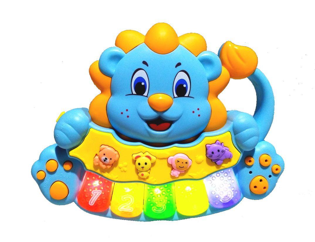 Brinquedo Pianinho Musical para Bebês Piano Infantil com Som e Luzes Leão Azul