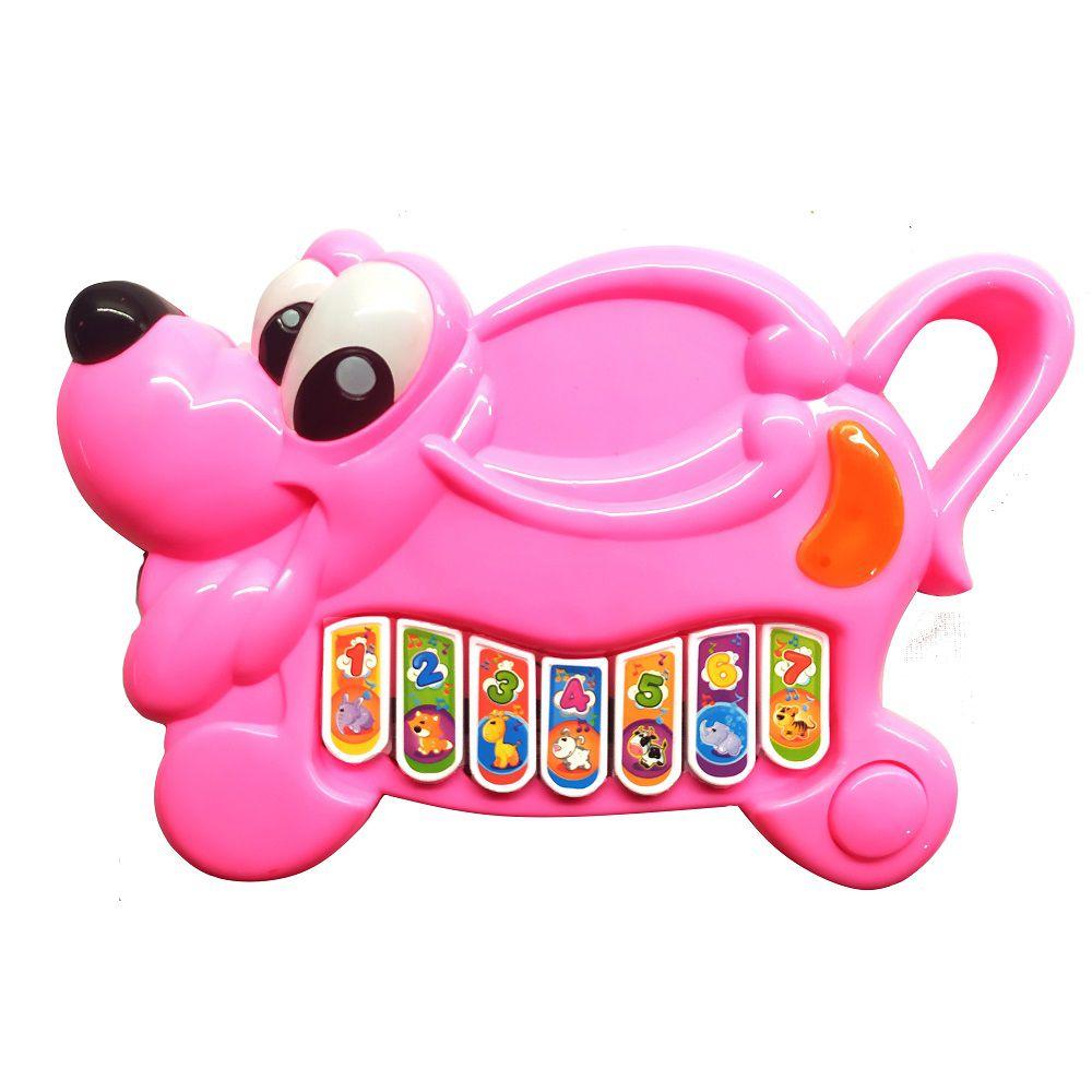 Brinquedo Pianinho Musical para Bebês Piano Infantil com Som e Luzes Pluto Rosa