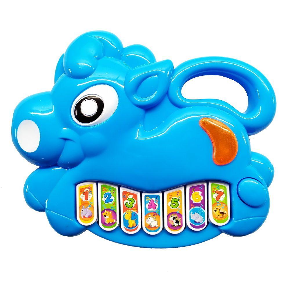 Brinquedo Pianinho Musical para Bebês Piano Infantil com Som e Luzes Poney Azul