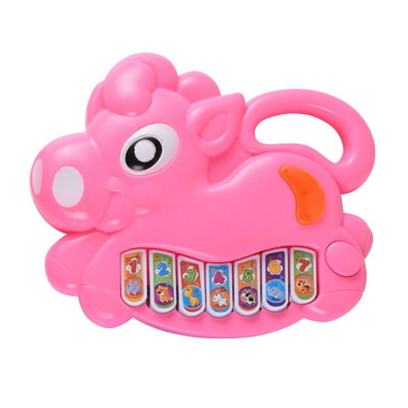 Brinquedo Pianinho Musical para Bebês Piano Infantil com Som e Luzes Poney Rosa
