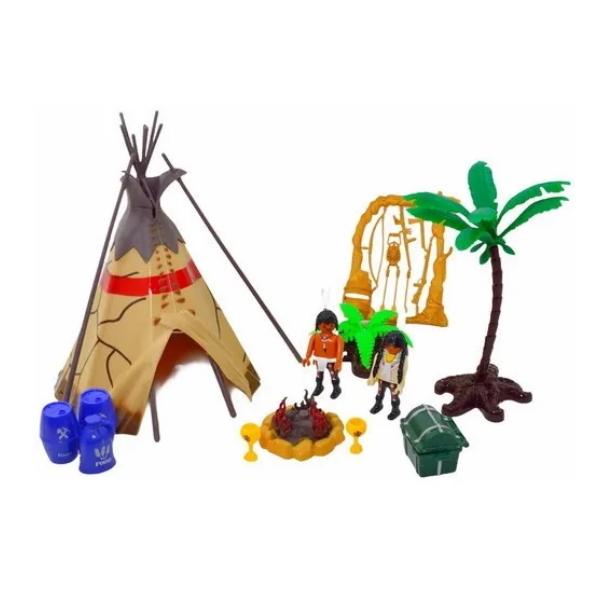 Brinquedo Playset de Índio com Oca Bonecos e Acessórios 13 pçs