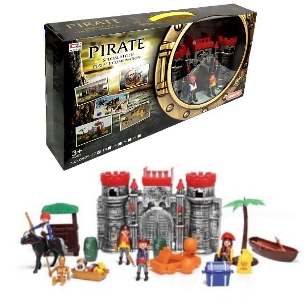 Brinquedo Playset de Piratas com Castelo Medieval Barco Bonecos e Acessórios 24pçs