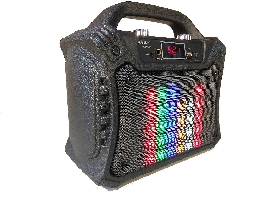 Caixa de Som Portátil Disco LED Karaokê 40w Rms Tipo JBL