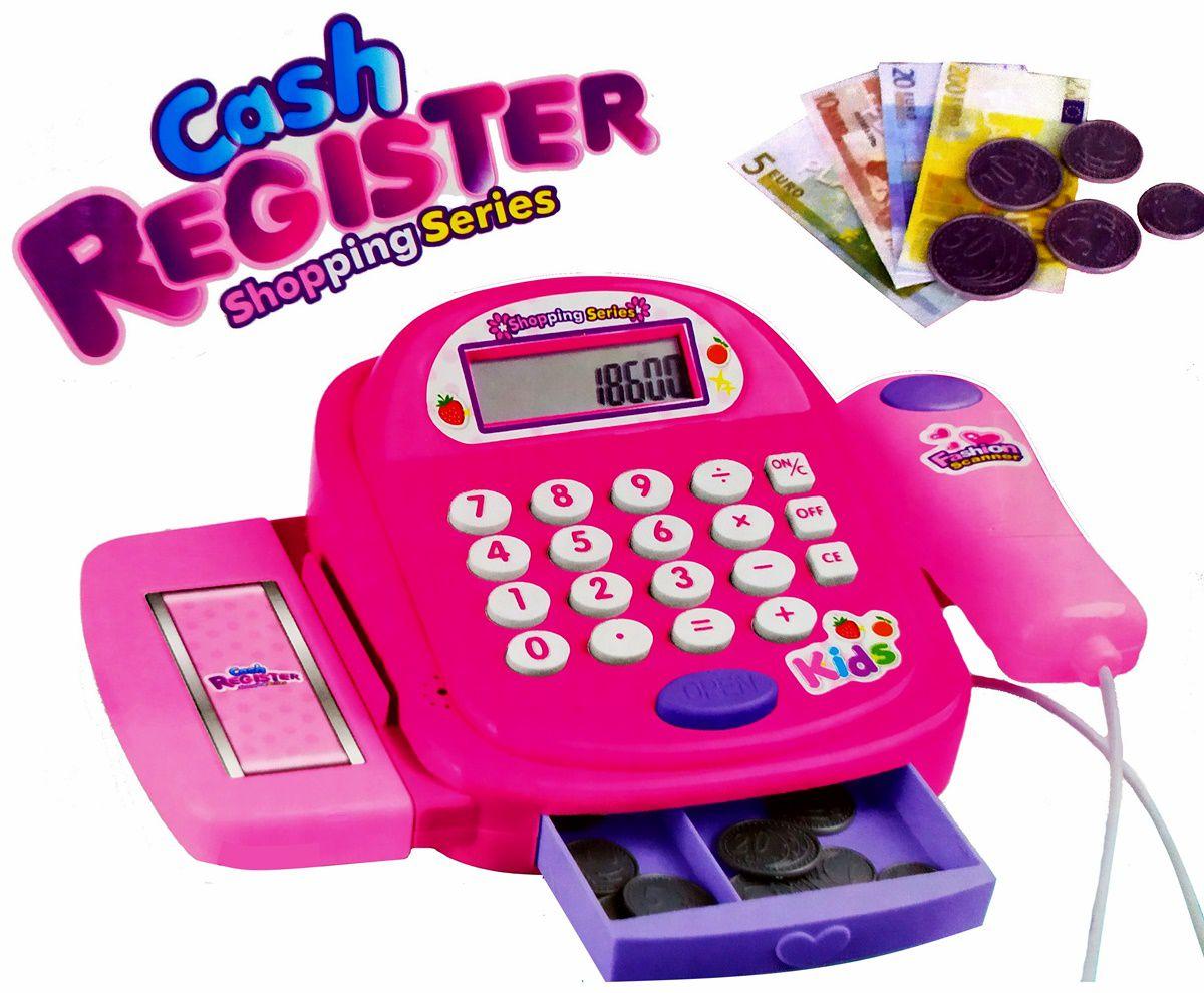 Caixa Registradora Infantil Rosa com Sons + acessórios