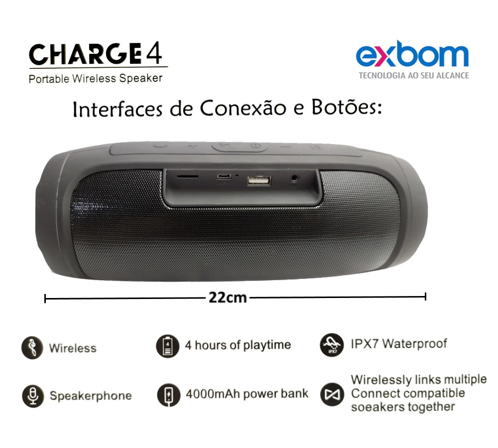 Caixa Som Portátil Sem fio Hifi FM USB Aux EXBOM Charge 4