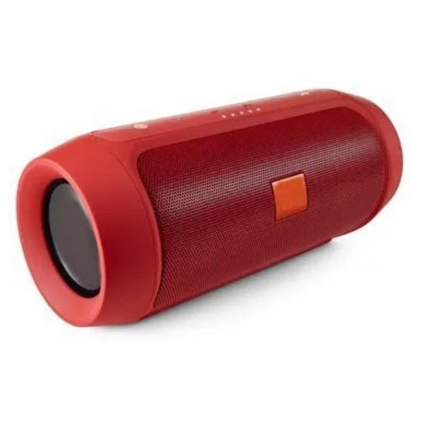 Caixa Som Portátil Sem fio Hifi FM USB Aux EXBOM Vermelho