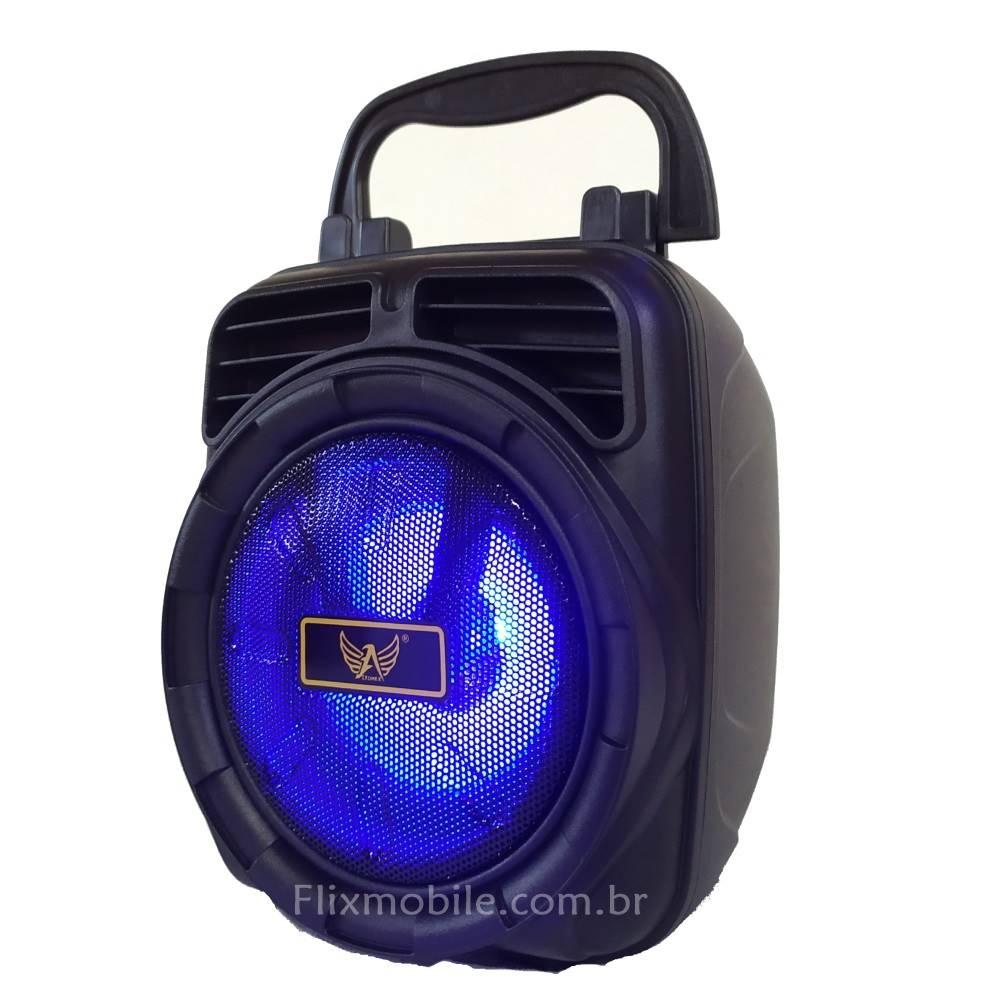 Caixa Som Portátil Sem fio Hifi FM USB com LEDs Grade Azul