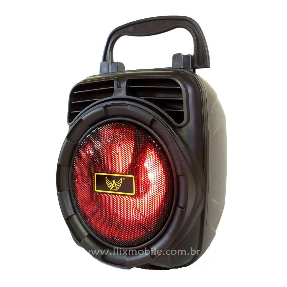 Caixa Som Portátil Sem fio Hifi FM USB com LEDs Grade Vermelha