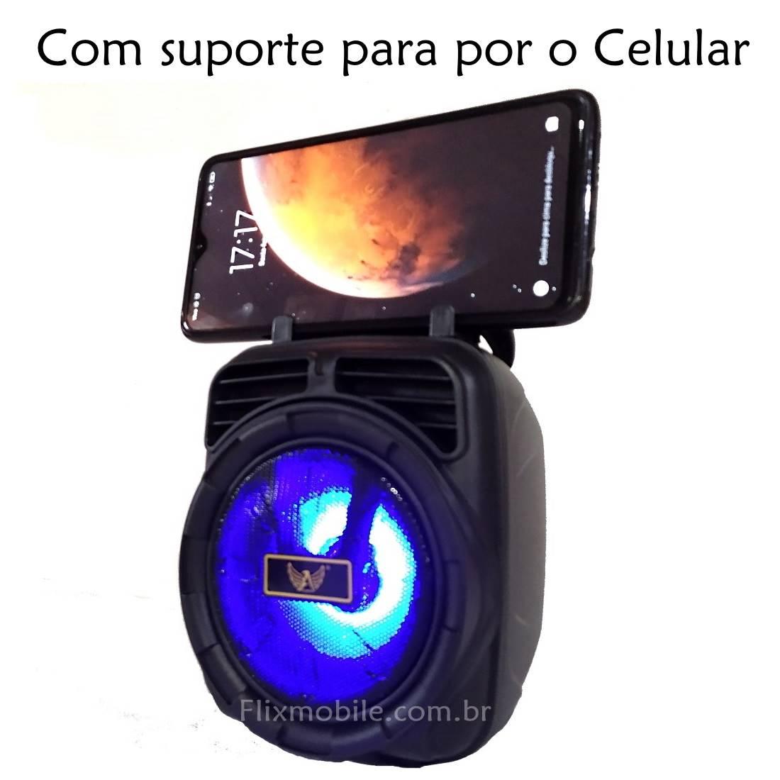 Caixa Som Portátil Sem fio Hifi FM USB com LEDs Preta