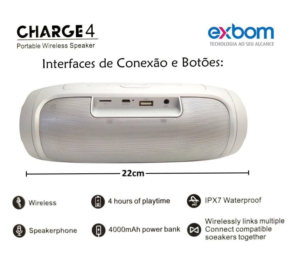 Caixinha de Som EXBOM Portátil Hi Fi USB Bluetooth FM Cartão Cinza
