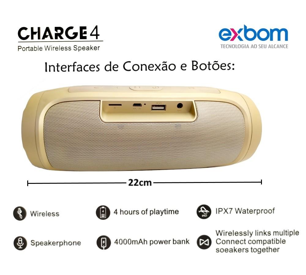 Caixinha de Som EXBOM Portátil Hi Fi USB Bluetooth FM Cartão Dourado