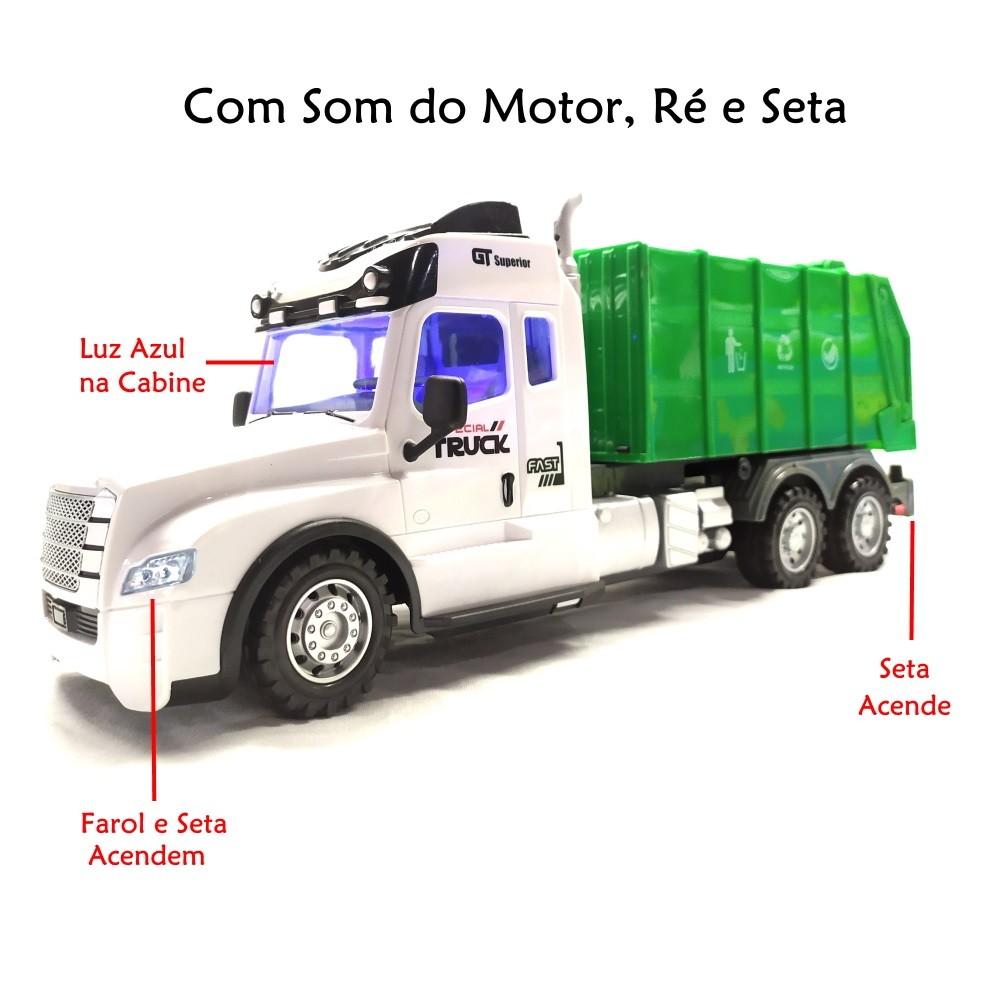 Caminhão de Lixo de Controle Remoto Com Som Farol Seta abre o Baú