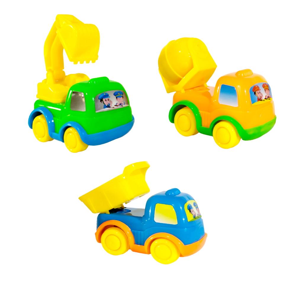 Caminhões de Fricção Infantil Baby Kit com 3 Modelos