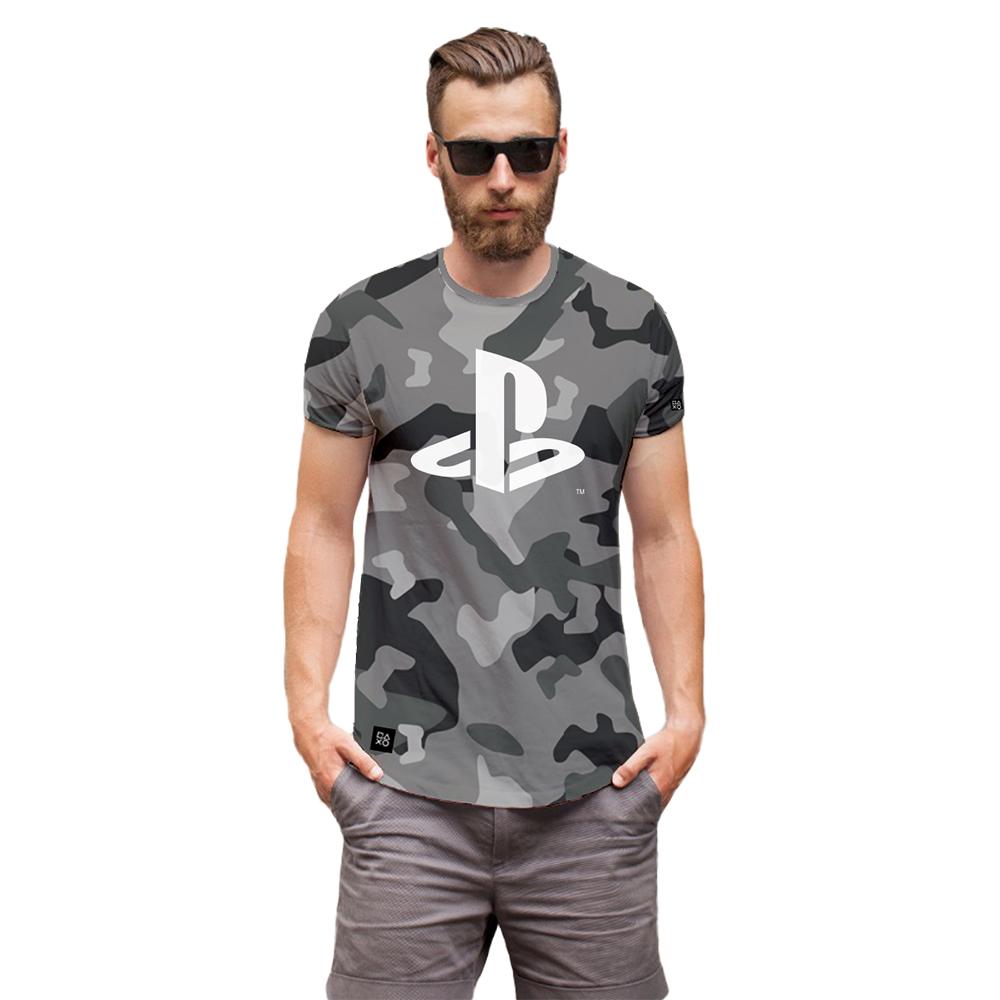 Camiseta Playstation Camuflada Cinza Oficial