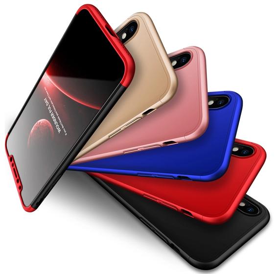 Capa Case Capinha 360º Anti Impacto Fosca Para iPhone X + Película de Vidro Temperado Cor Preto com Vermelho