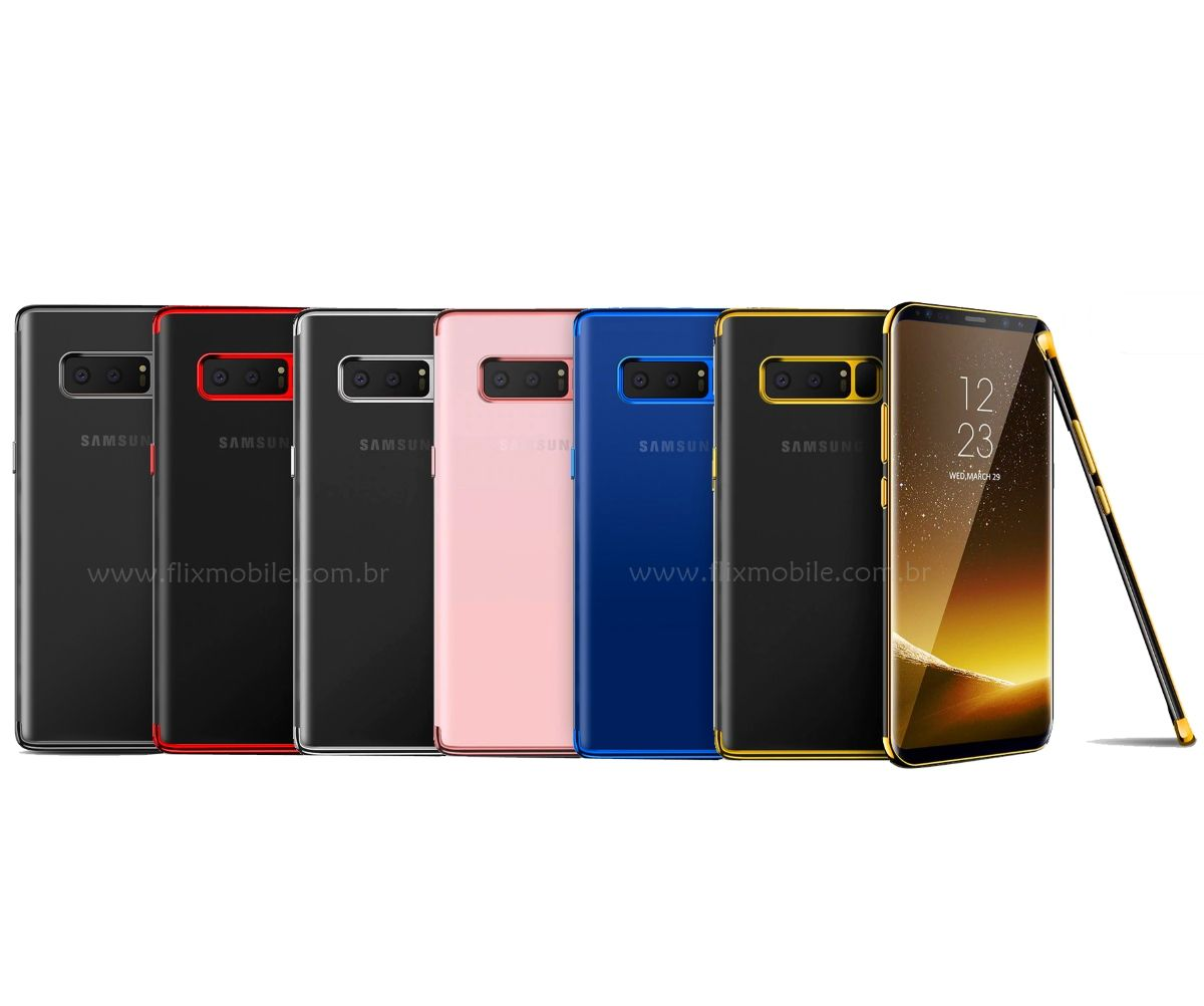 Capa Galaxy Note 8 Silicone Borda Colorida
