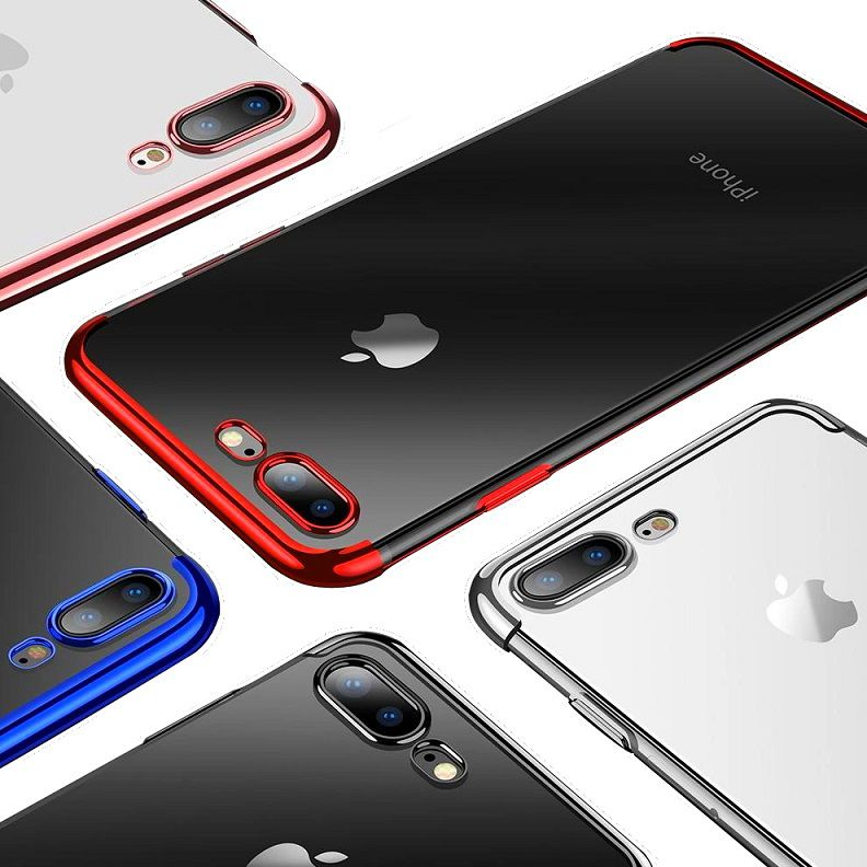 Capa iPhone 7 Plus e 8 Plus Silicone Borda Colorida