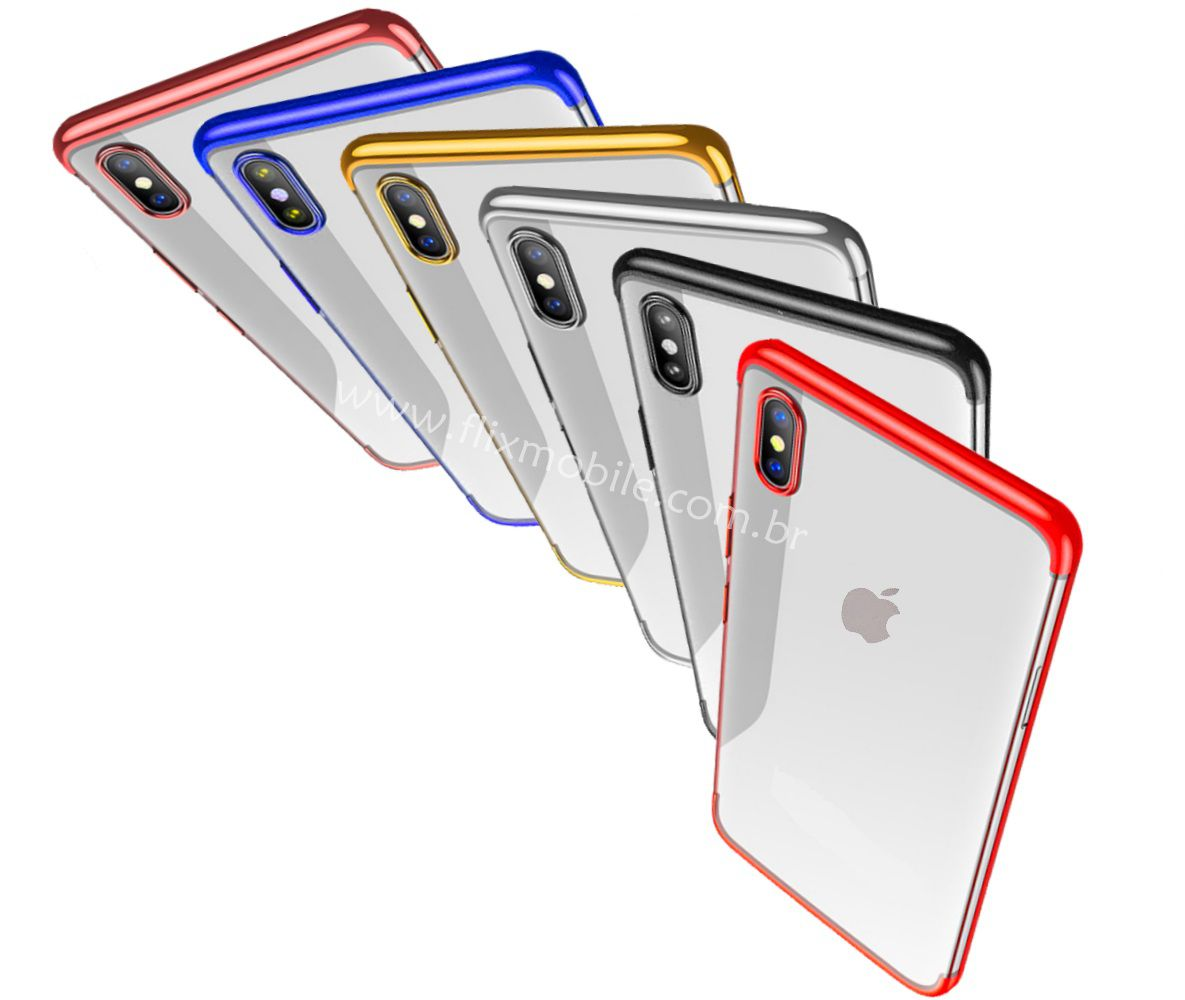 Capa iPhone X Apple Silicone Borda Colorida Luxo