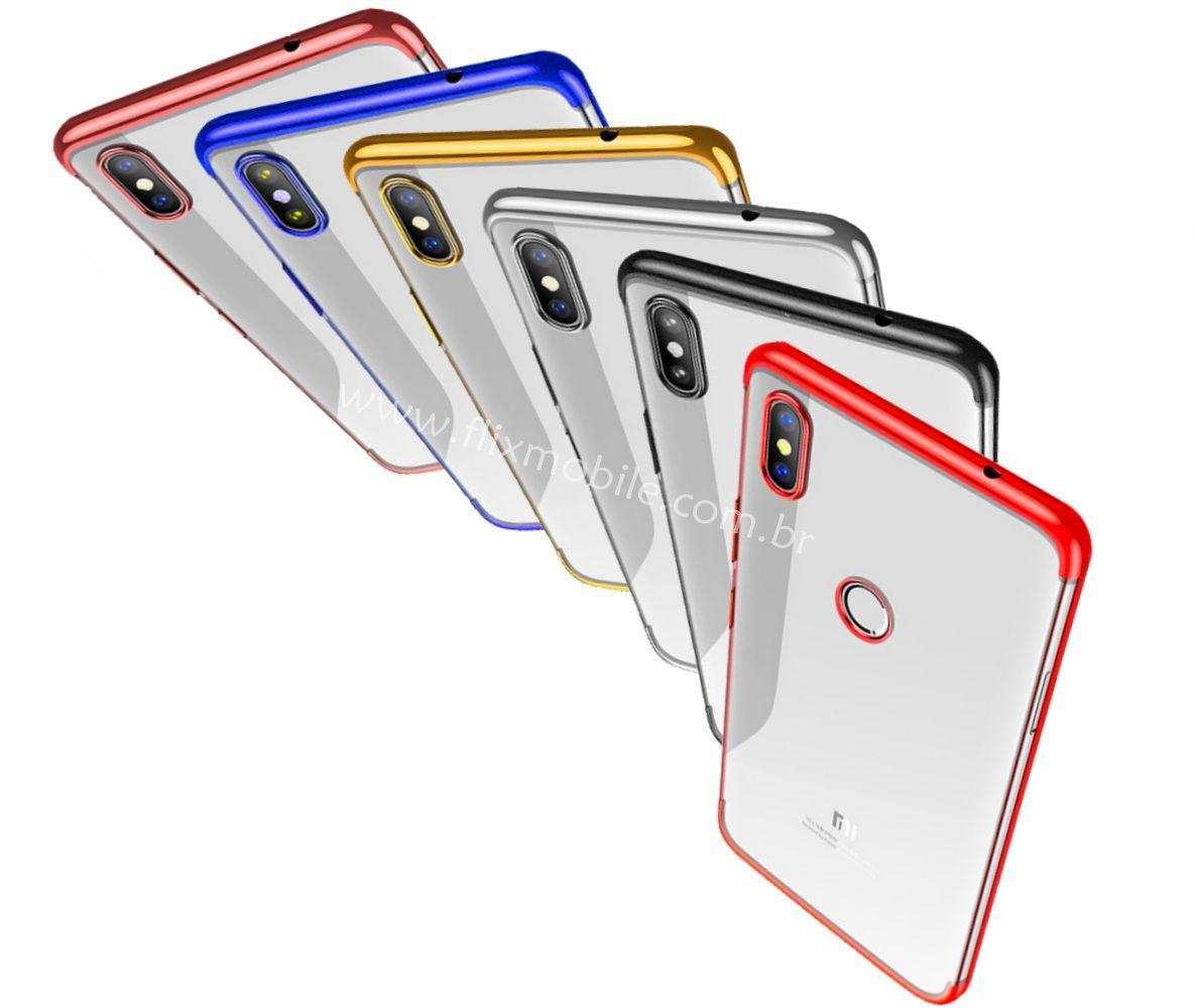 Capa Redmi Note 5 Pro Xiaomi Silicone Borda Colorida Luxo - Preta