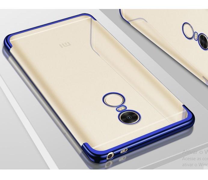 Capinha Silicone Xiaomi Redmi 5 tela 5.7 Pol Borda Azul