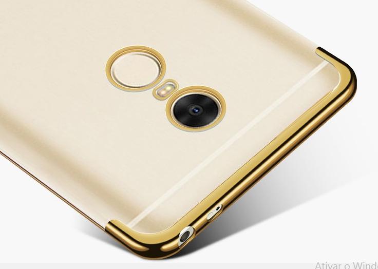 Capinha Silicone Xiaomi Redmi 5 tela 5.7 Pol Borda Dourada