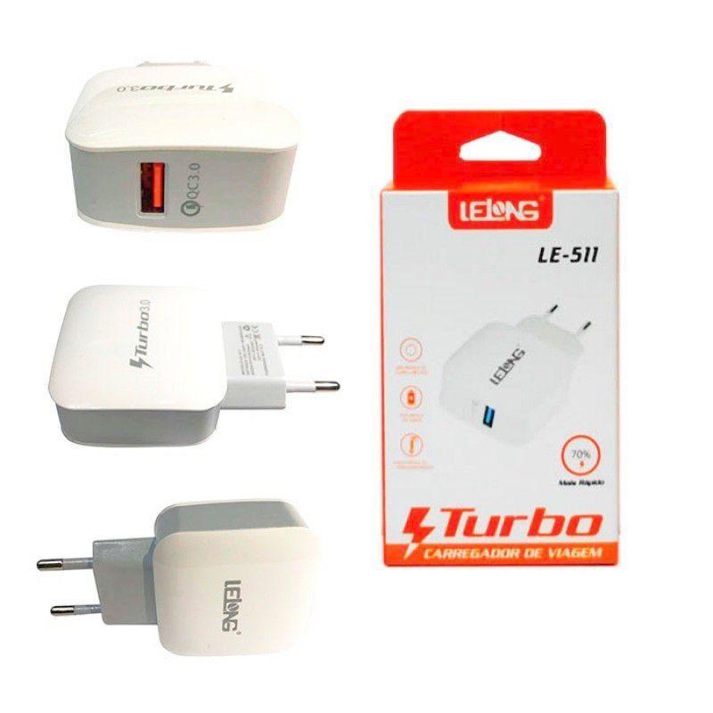 Carregador de Parede USB 3.0 LE-511- Lelong Sem Cabo