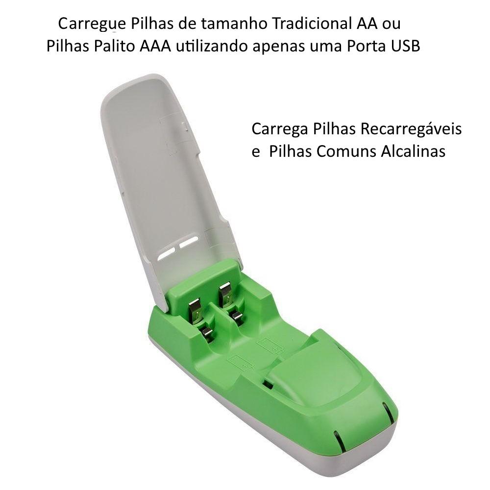 Carregador de Pilhas Recarregáveis e Comuns Alcalinas AAA e AA USB
