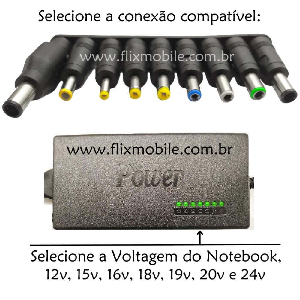 Carregador Notebook Bivolt Chaveamento p/ 16 18 19 20 e 24v