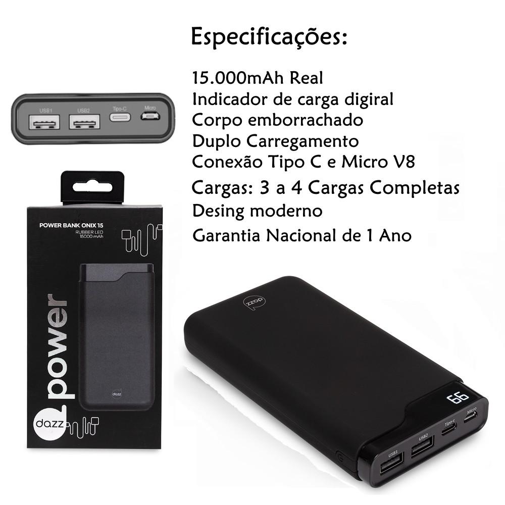 Carregador Portátil 15.000mAh Potente Carga Rápida Duplo Micro USB e Tipo C Luxo