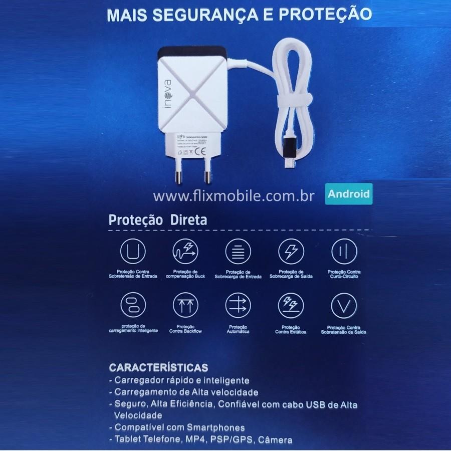 Carregador Rápido Inova p/ Galaxy Conexão V8 e três Portas USB 4.8A