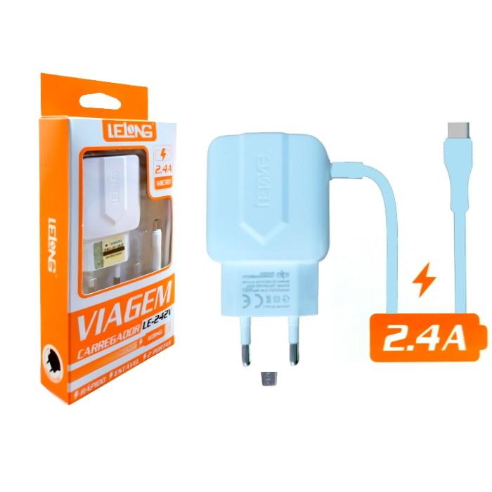 Carregador Rápido LELONG p/ Galaxy Conexão V8 e duas Portas USB 2.4A