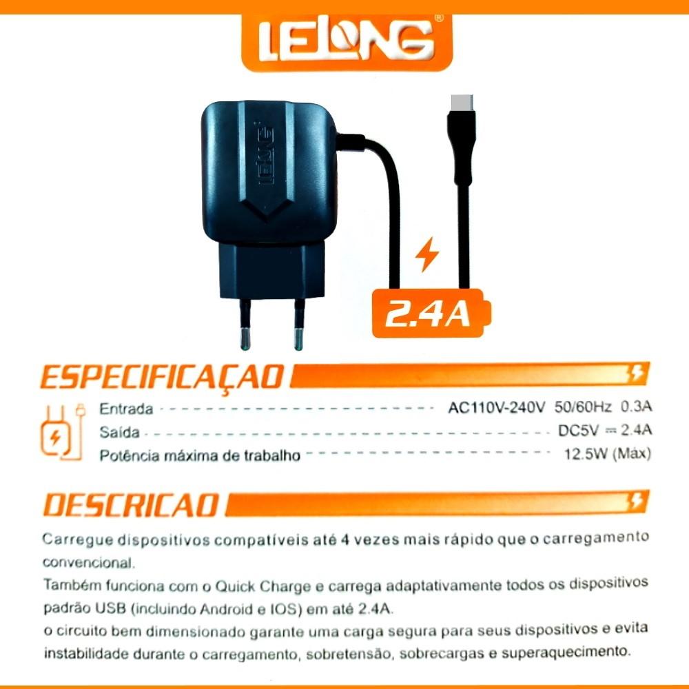 Carregador Rápido Lelong p/ Galaxy S8 S8+ S9 S9+ S10 Note 8 Note 9