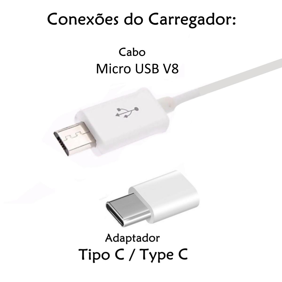 Carregador Turbo Universal Android 4.8A P/ Samsung Xiaomi Motorola LG Conector V8 e Tipo C