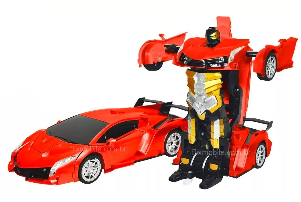 Carrinho Controle Remoto Lamborghini Sem Fio Recarregável Transformers