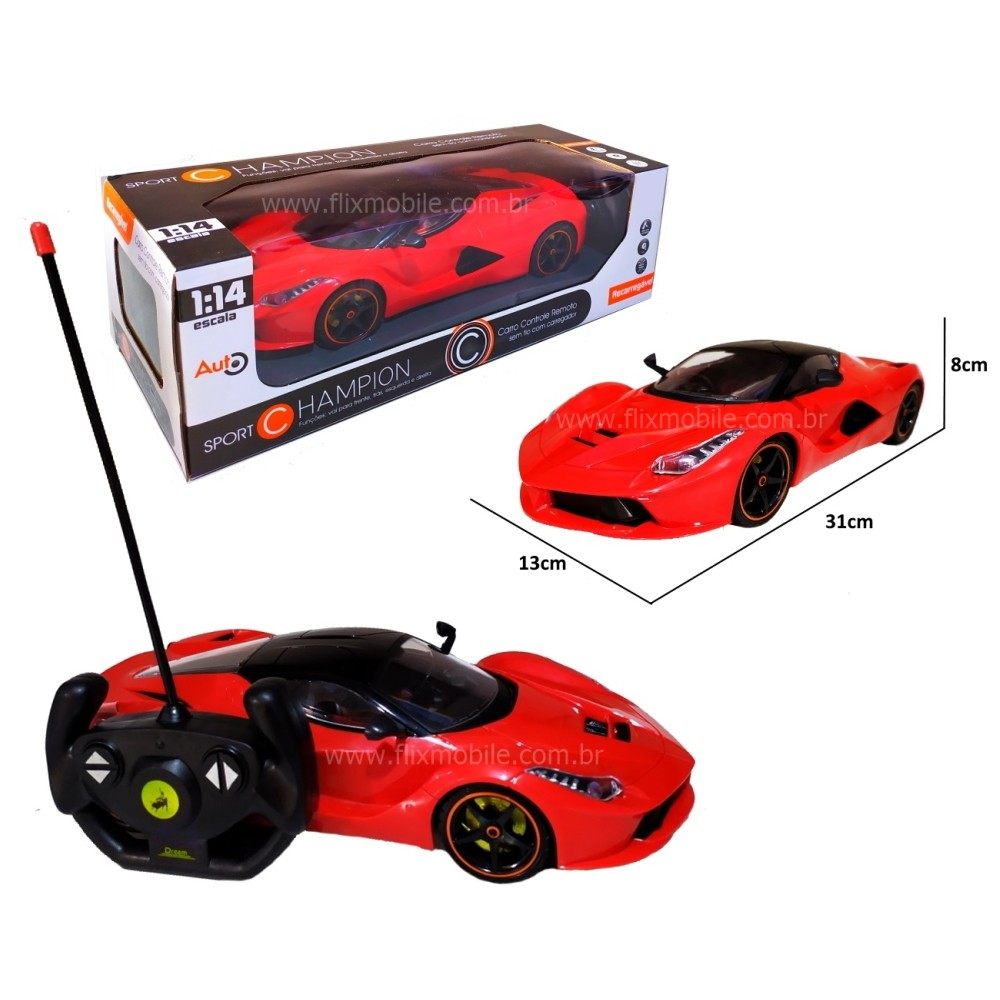 Carrinho de Controle Ferrar Spider Sport Bateria Recarregável