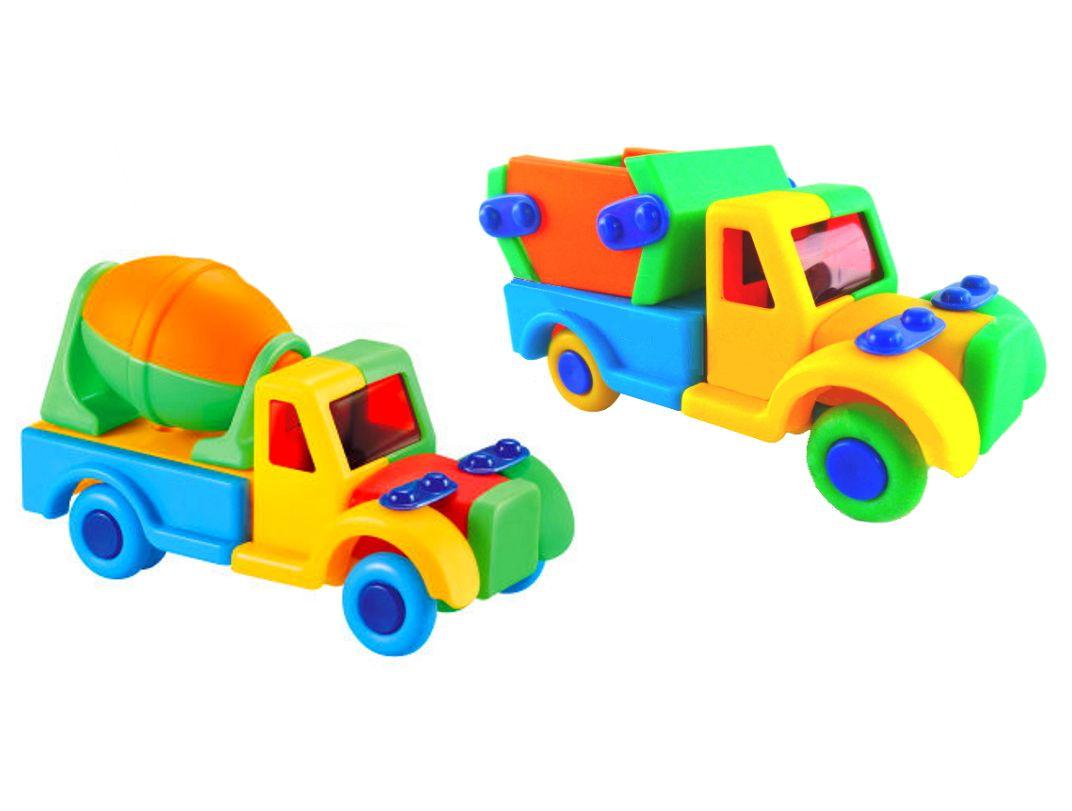 Carrinho de Montar Caminhão Caçamba e Basculante Educativo Colorido