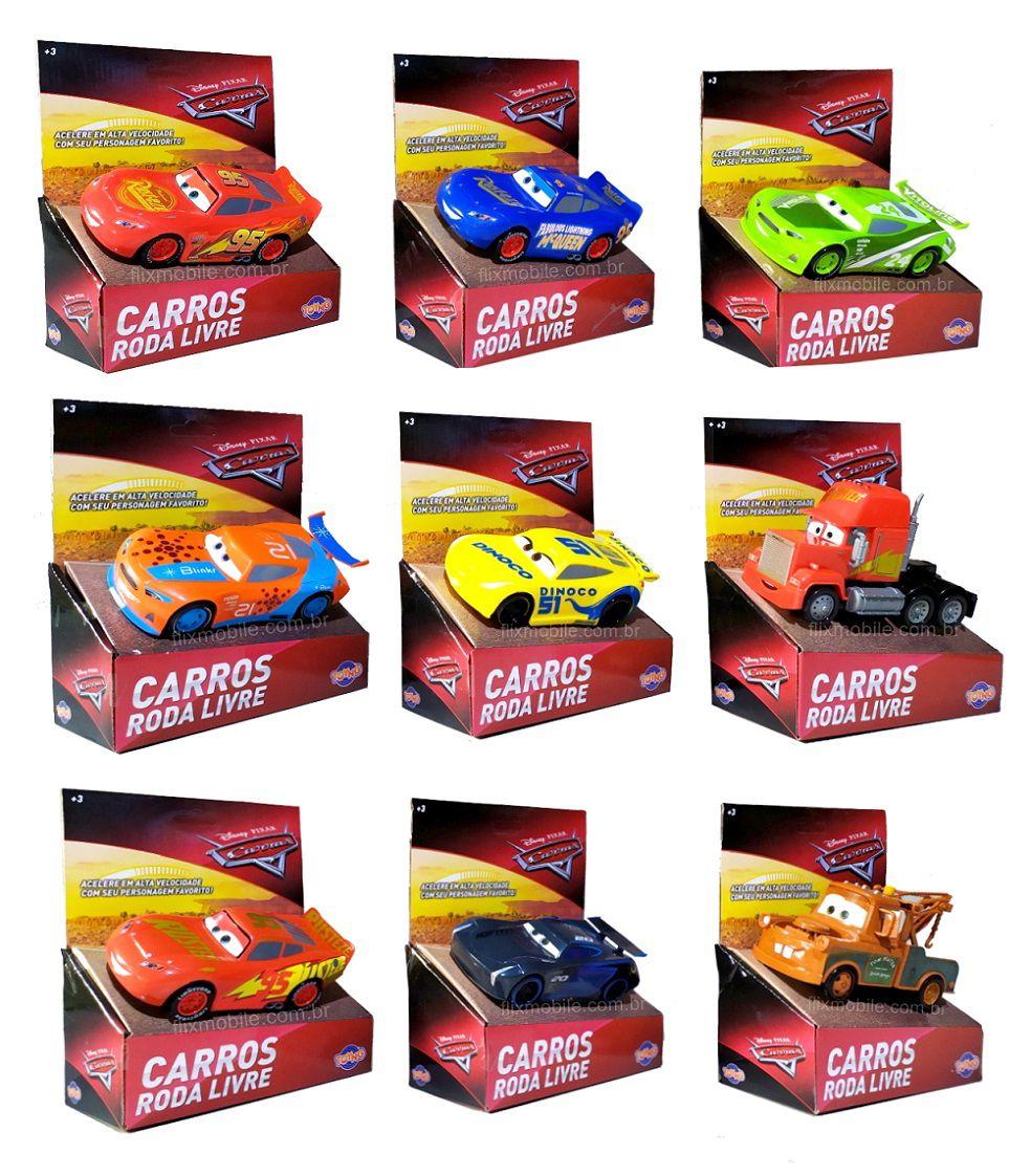 Carrinho Disney Pixar Carros 3 Colecionável Roda Livre 13cm - 1 unidade
