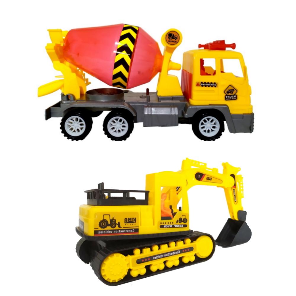 Carrinho Escavadeira com Caminhão Betoneira Brinquedo de Fricção