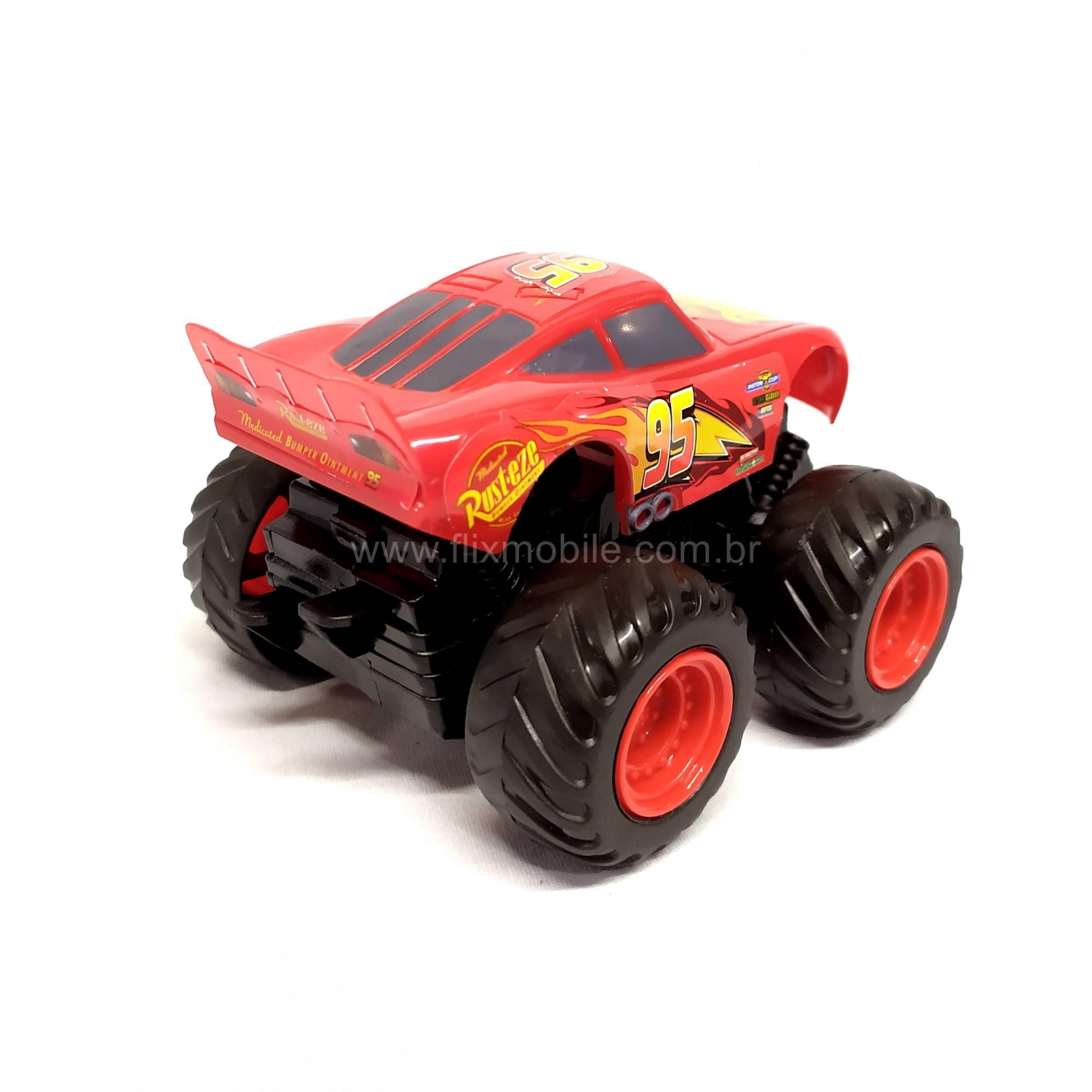 Carrinho Fricção Relampago Macqueen Monster 10cm  Disney Carros