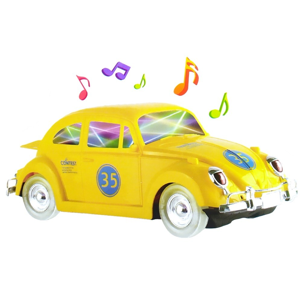 Carrinho Fusca com Sons e Luzes 3D Bate e Volta e Gira 360º Amarelo