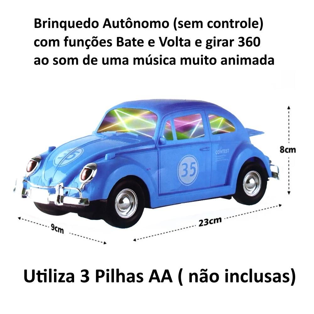 Carrinho Fusca com Sons e Luzes 3D Bate e Volta e Gira 360º Azul