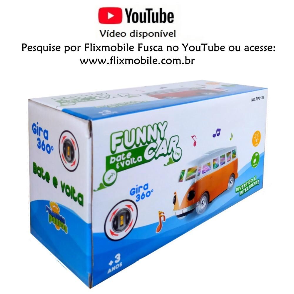 Carrinho Kombi Perua com Sons e Luzes 3D Bate e Volta e Gira 360º