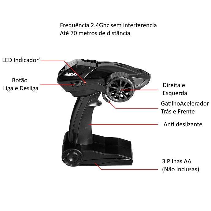 Carrinho Off Road Elétrico 4x4 Potente e Veloz com Suspensão e Controle 2.4Ghz Semi Profissional