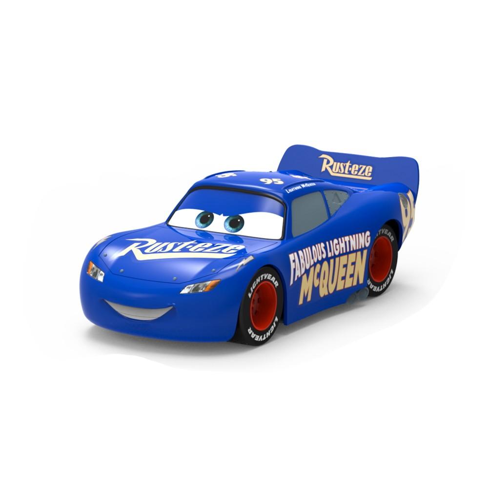 Carrinho Roda Livre Monte e Brinque Relâmpago Mcqueen e Mcqueen Azul Fabuloso