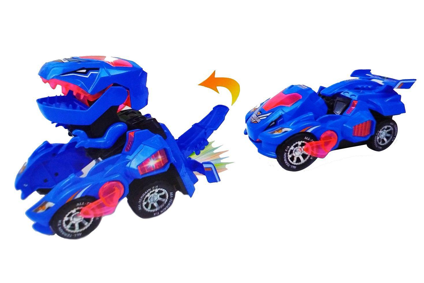 Carrinho Transformers Dinossauro Tiranossauro Bate e Volta com Sons Luz - Azul
