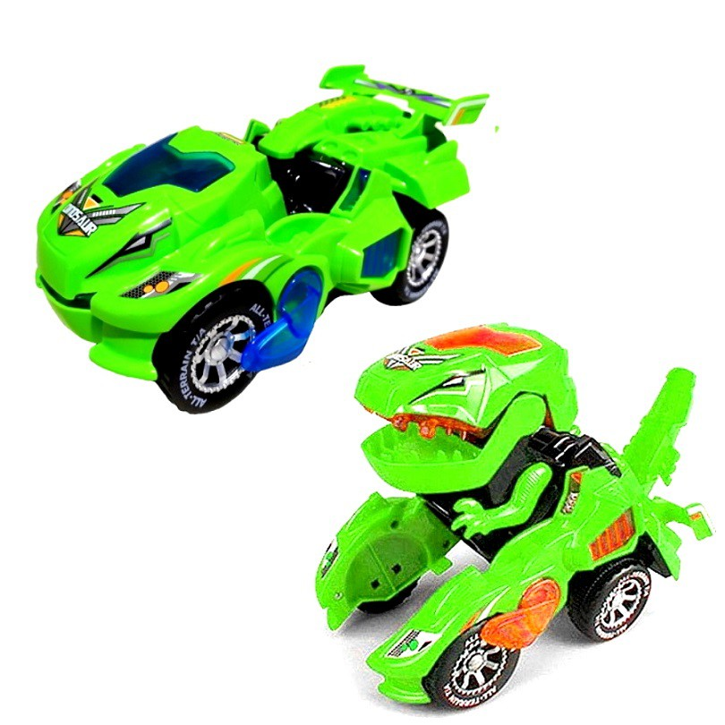 Carrinho Transformers Dinossauro Tiranossauro Bate e Volta com Sons Luz Verde