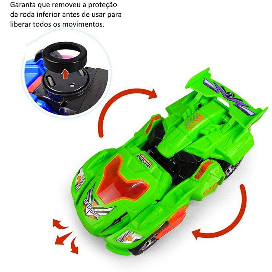 Carrinho Transformers Dinossauro Tiranossauro Bate e Volta com Sons Luz - Verde