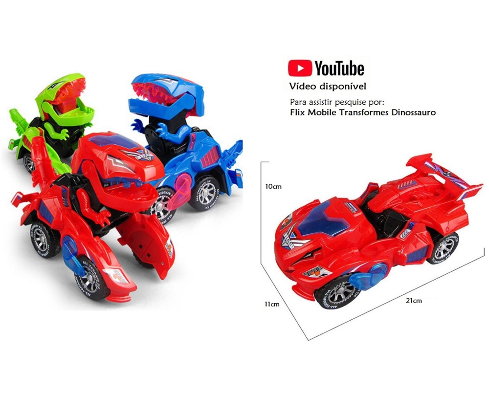 Carrinho Transformers Dinossauro Tiranossauro Bate e Volta com Sons Luz Vermelho